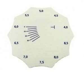 Radienschablone zur Messung der Basiskurve von Gläser