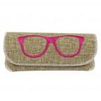 """Taschenetui mit Brillenmotiv """"Peschi"""" - Pink"""