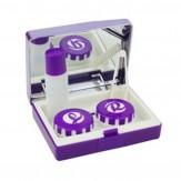 Sparset Kontaktlinsenbox mit Spiegel Violett 5 Stück