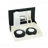 Sparset Kontaktlinsenbox mit Spiegel Schwarz/Weiß 5 Stück
