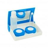 Sparset Kontaktlinsenbox mit Spiegel Blau/Weiß 5 Stück